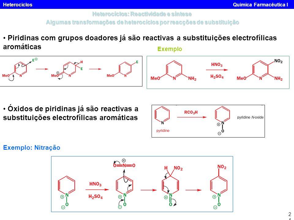 Heterocíclos Heterocíclos Química Farmacêutica I24 Piridinas com grupos doadores já são reactivas a substituições electrofílicas aromáticas Exemplo Óx