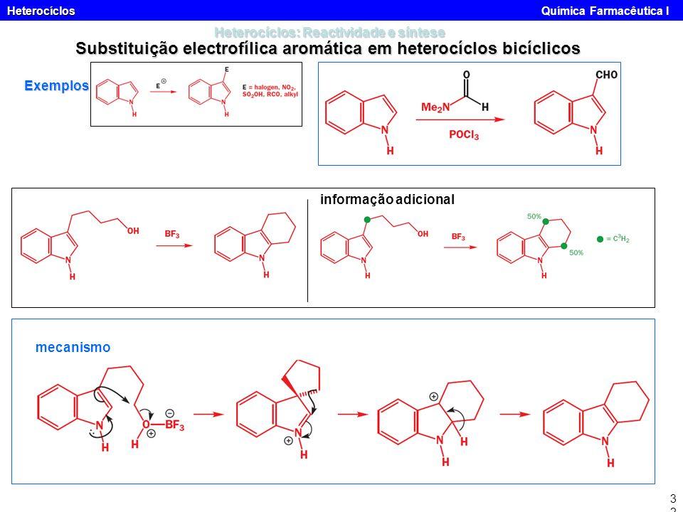 Heterocíclos Heterocíclos Química Farmacêutica I32 Heterocíclos: Reactividade e síntese Substituição electrofílica aromática em heterocíclos bicíclico