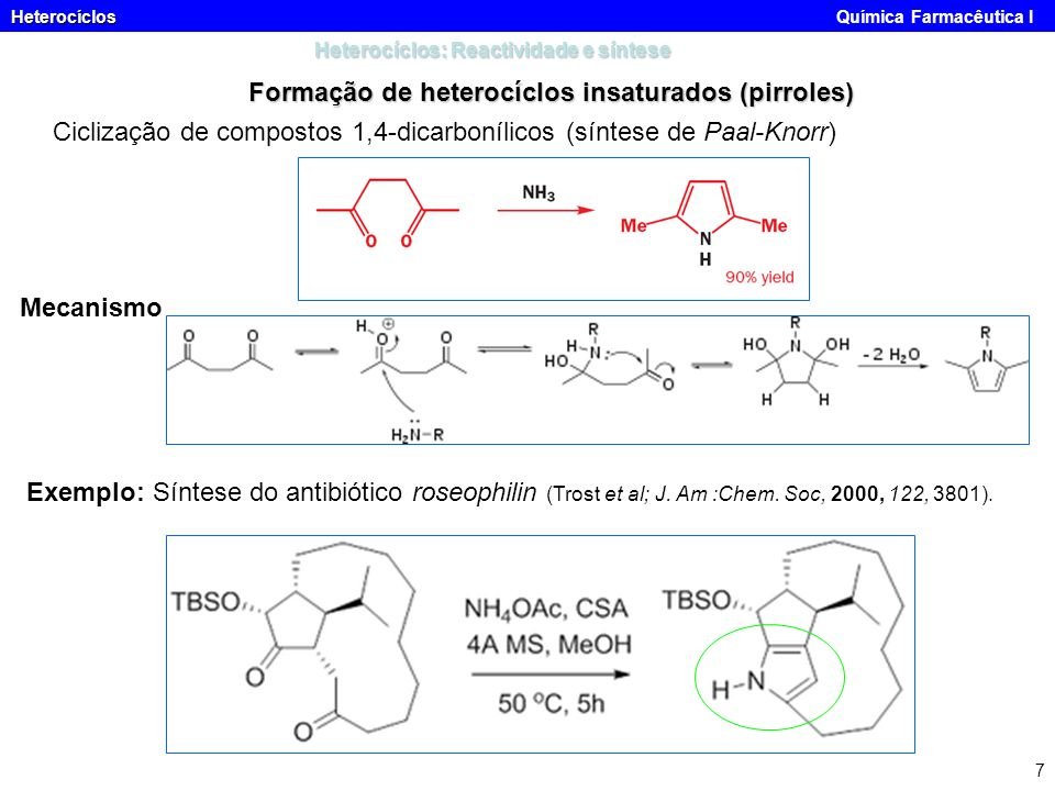Heterocíclos Heterocíclos Química Farmacêutica I 7 Heterocíclos: Reactividade e síntese Formação de heterocíclos insaturados (pirroles) Ciclização de