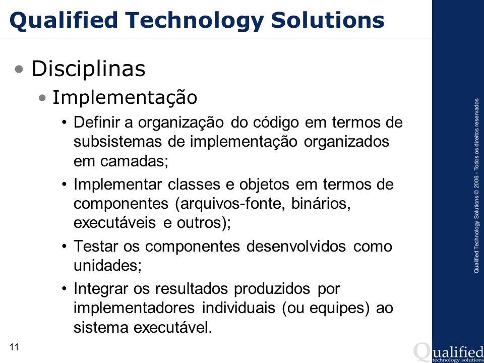 11 Qualified Technology Solutions Disciplinas Implementação Definir a organização do código em termos de subsistemas de implementação organizados em c