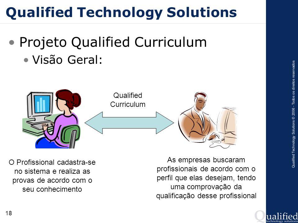 18 Qualified Technology Solutions Projeto Qualified Curriculum Visão Geral: O Profissional cadastra-se no sistema e realiza as provas de acordo com o