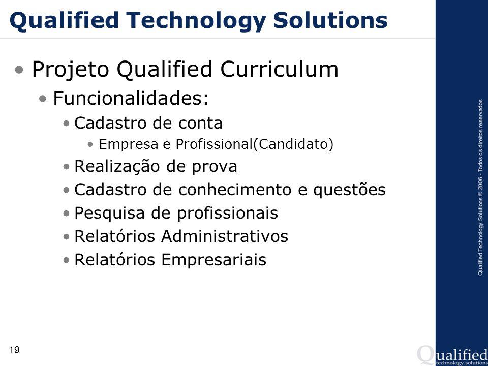 19 Qualified Technology Solutions Projeto Qualified Curriculum Funcionalidades: Cadastro de conta Empresa e Profissional(Candidato) Realização de prov