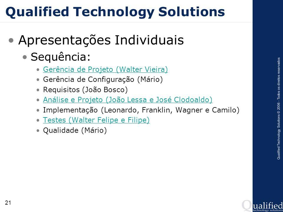21 Qualified Technology Solutions Apresentações Individuais Sequência: Gerência de Projeto (Walter Vieira) Gerência de Configuração (Mário) Requisitos