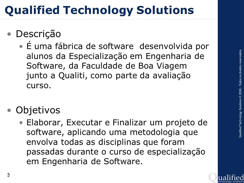 3 Qualified Technology Solutions Descrição É uma fábrica de software desenvolvida por alunos da Especialização em Engenharia de Software, da Faculdade