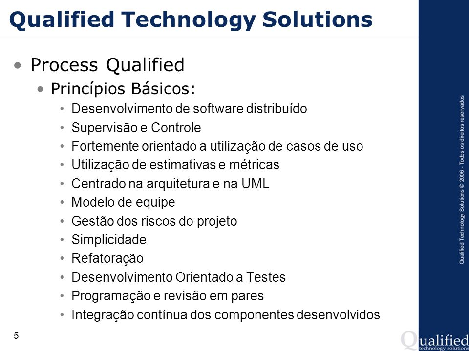 16 Qualified Technology Solutions Projeto Qualified Curriculum