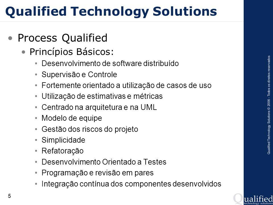 5 Qualified Technology Solutions Process Qualified Princípios Básicos: Desenvolvimento de software distribuído Supervisão e Controle Fortemente orient