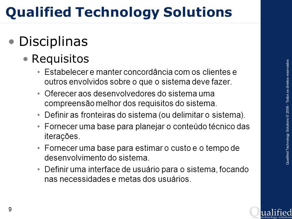 9 Qualified Technology Solutions Disciplinas Requisitos Estabelecer e manter concordância com os clientes e outros envolvidos sobre o que o sistema de