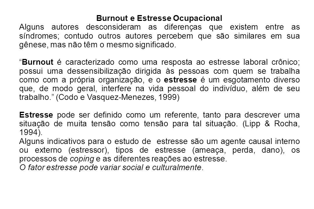 Burnout e Estresse Ocupacional Alguns autores desconsideram as diferenças que existem entre as síndromes; contudo outros autores percebem que são simi