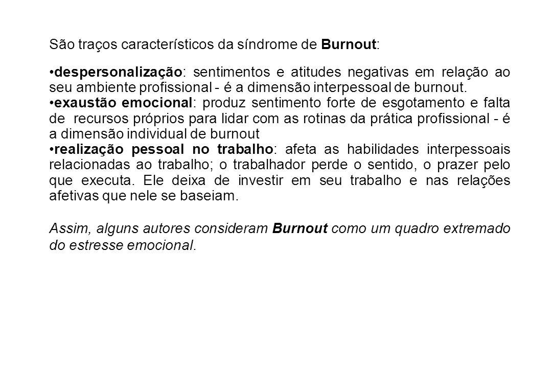 São traços característicos da síndrome de Burnout: despersonalização: sentimentos e atitudes negativas em relação ao seu ambiente profissional - é a d