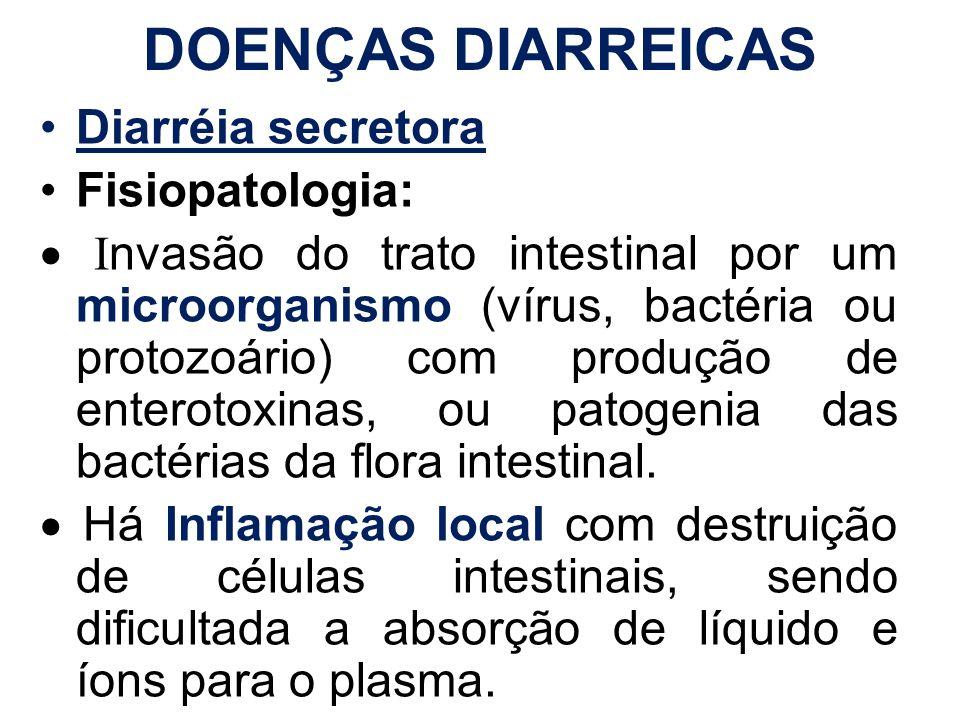 DOENÇAS DIARREICAS Diarréia secretora Fisiopatologia: I nvasão do trato intestinal por um microorganismo (vírus, bactéria ou protozoário) com produção
