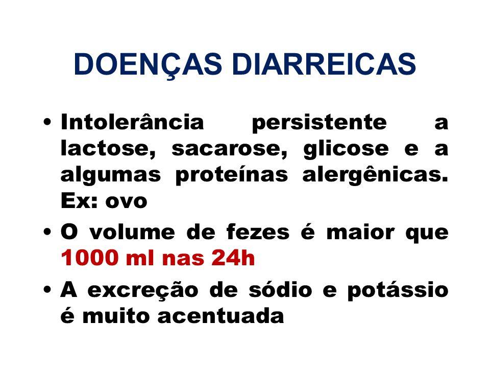 DOENÇAS DIARREICAS Intolerância persistente a lactose, sacarose, glicose e a algumas proteínas alergênicas. Ex: ovo O volume de fezes é maior que 1000