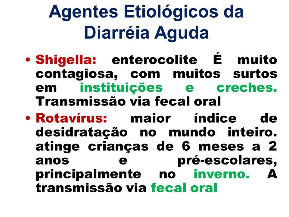 Agentes Etiológicos da Diarréia Aguda Shigella: enterocolite É muito contagiosa, com muitos surtos em instituições e creches. Transmissão via fecal or
