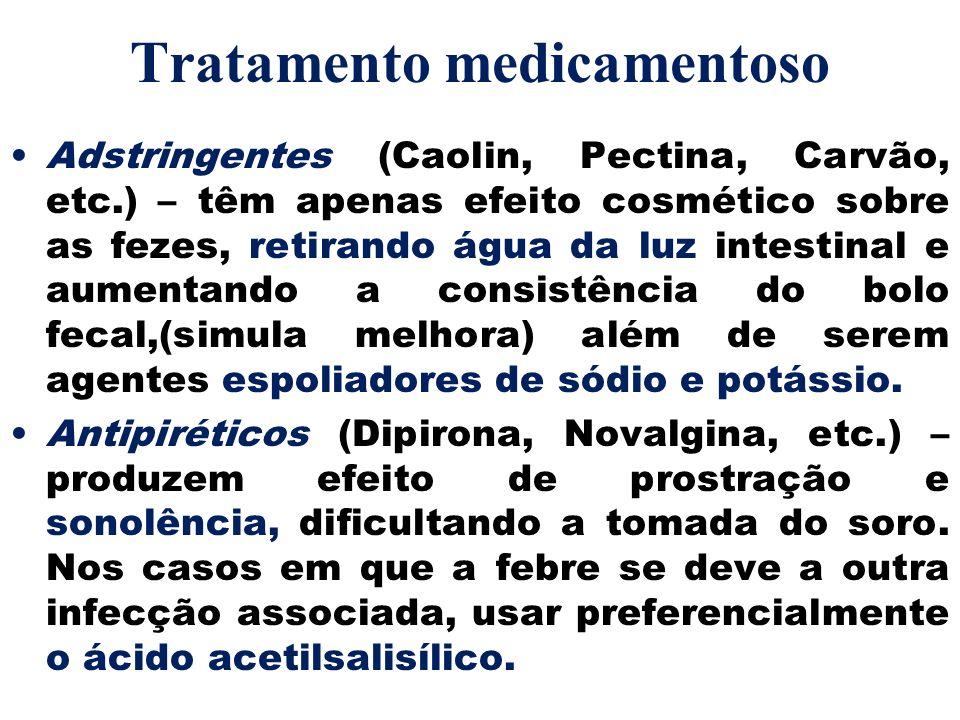 Tratamento medicamentoso Adstringentes (Caolin, Pectina, Carvão, etc.) – têm apenas efeito cosmético sobre as fezes, retirando água da luz intestinal