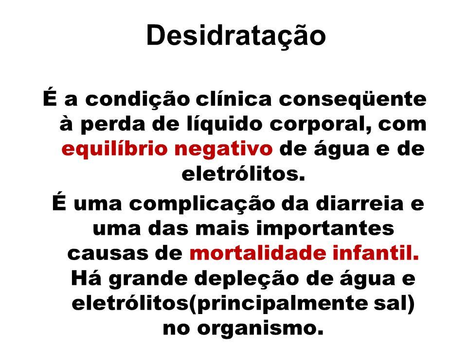 Desidratação É a condição clínica conseqüente à perda de líquido corporal, com equilíbrio negativo de água e de eletrólitos. É uma complicação da diar