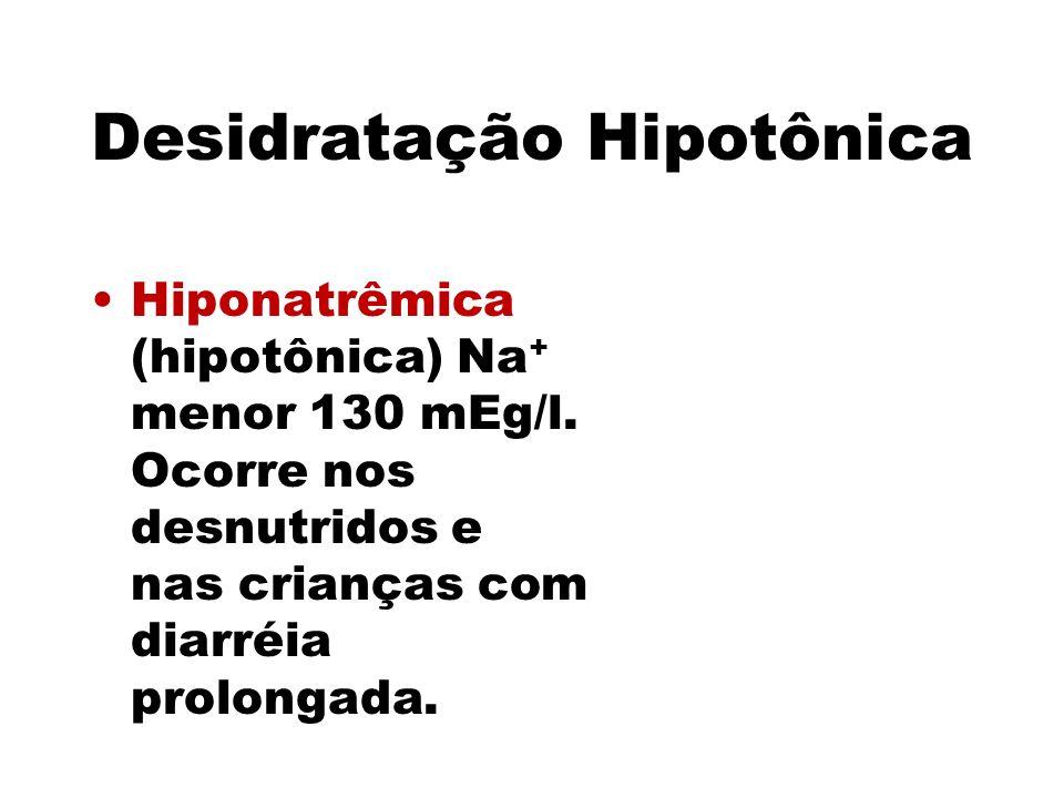 Desidratação Hipotônica Hiponatrêmica (hipotônica) Na + menor 130 mEg/l. Ocorre nos desnutridos e nas crianças com diarréia prolongada.