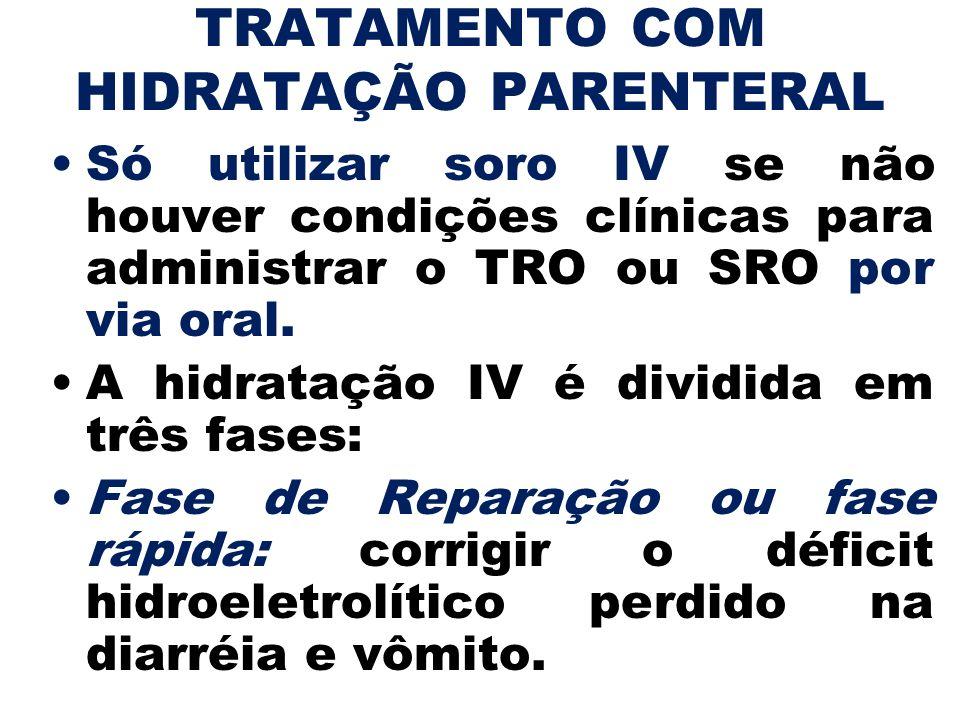 TRATAMENTO COM HIDRATAÇÃO PARENTERAL Só utilizar soro IV se não houver condições clínicas para administrar o TRO ou SRO por via oral. A hidratação IV