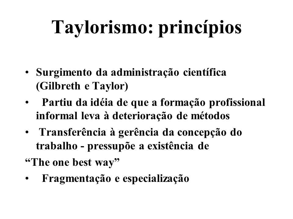 Taylorismo: princípios Surgimento da administração científica (Gilbreth e Taylor) Partiu da idéia de que a formação profissional informal leva à deter