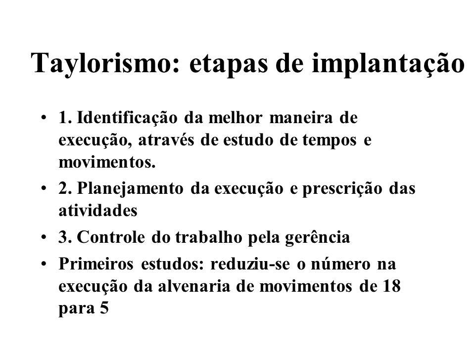 Taylorismo: etapas de implantação 1. Identificação da melhor maneira de execução, através de estudo de tempos e movimentos. 2. Planejamento da execuçã
