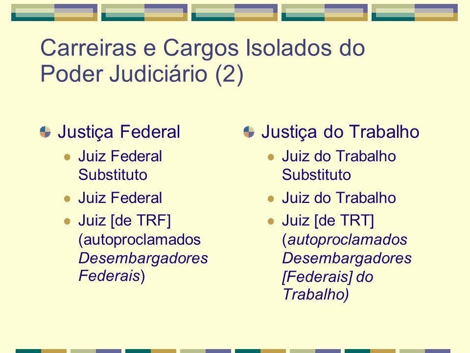 Carreiras e Cargos Isolados do Poder Judiciário (2) Justiça Federal Juiz Federal Substituto Juiz Federal Juiz [de TRF] (autoproclamados Desembargadores Federais) Justiça do Trabalho Juiz do Trabalho Substituto Juiz do Trabalho Juiz [de TRT] (autoproclamados Desembargadores [Federais] do Trabalho)