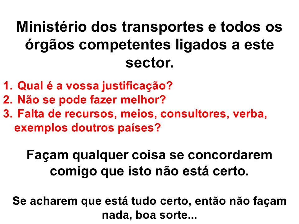 Ministério dos transportes e todos os órgãos competentes ligados a este sector. 1. Qual é a vossa justificação? 2. Não se pode fazer melhor? 3. Falta