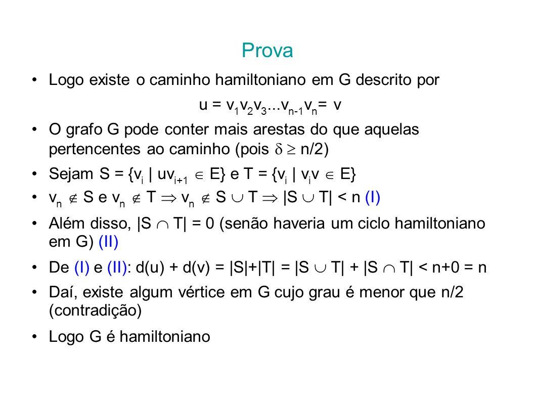 CC/EC/MestradoTeoria dos Grafos Prova Logo existe o caminho hamiltoniano em G descrito por u = v 1 v 2 v 3...v n-1 v n = v O grafo G pode conter mais