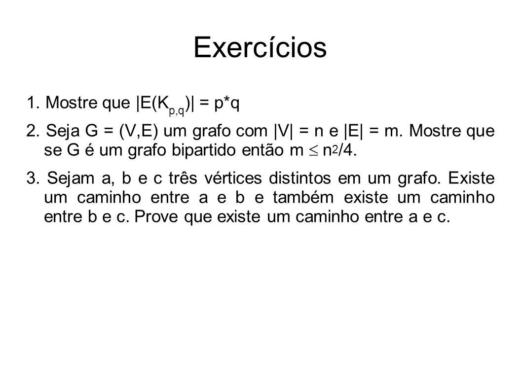 CC/EC/MestradoTeoria dos Grafos Exercícios 1. Mostre que |E(K p,q )| = p*q 2. Seja G = (V,E) um grafo com |V| = n e |E| = m. Mostre que se G é um graf