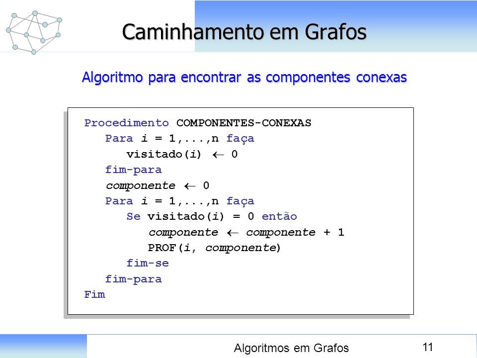 11 Algoritmos em Grafos Caminhamento em Grafos Procedimento COMPONENTES-CONEXAS Para i = 1,...,n faça visitado(i) 0 fim-para componente 0 Para i = 1,.