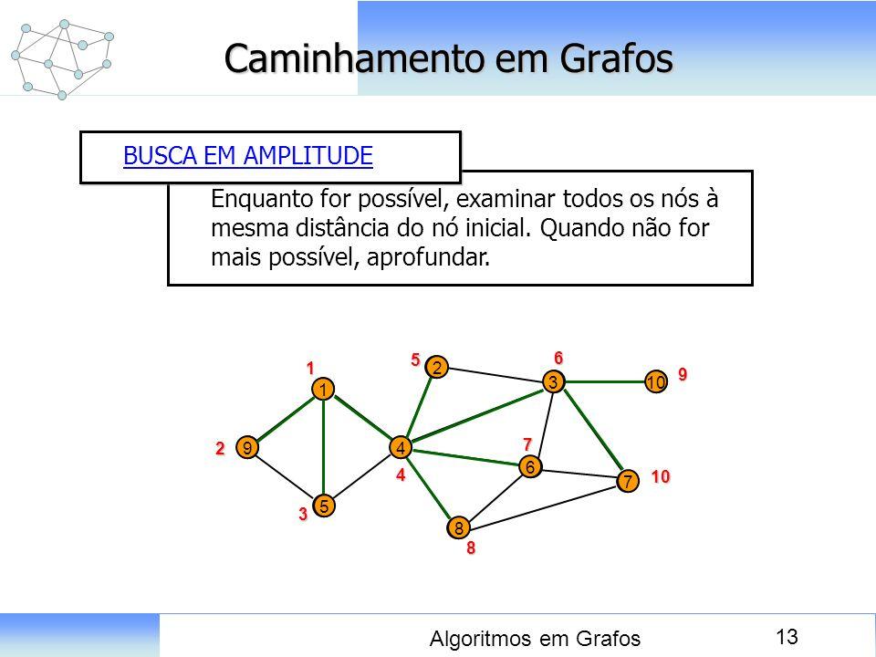 13 Algoritmos em Grafos Caminhamento em Grafos Enquanto for possível, examinar todos os nós à mesma distância do nó inicial. Quando não for mais possí