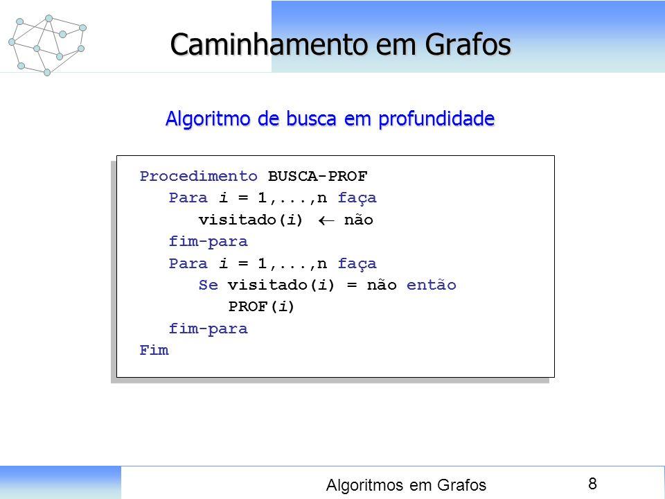 8 Algoritmos em Grafos Caminhamento em Grafos Procedimento BUSCA-PROF Para i = 1,...,n faça visitado(i) não fim-para Para i = 1,...,n faça Se visitado