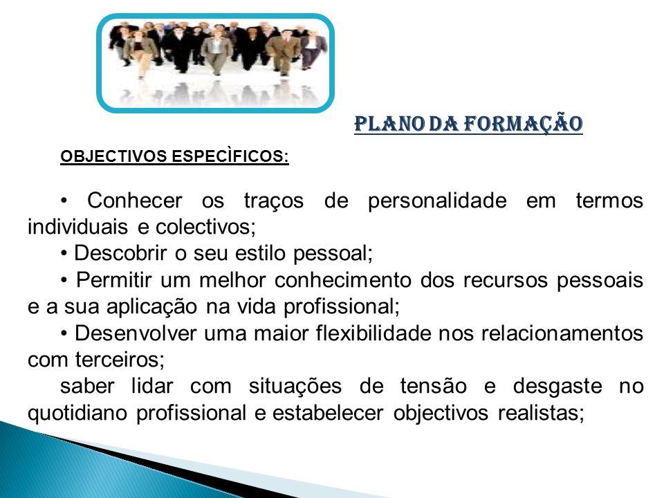 plano da formação OBJECTIVOS ESPECÌFICOS: Conhecer os traços de personalidade em termos individuais e colectivos; Descobrir o seu estilo pessoal; Perm