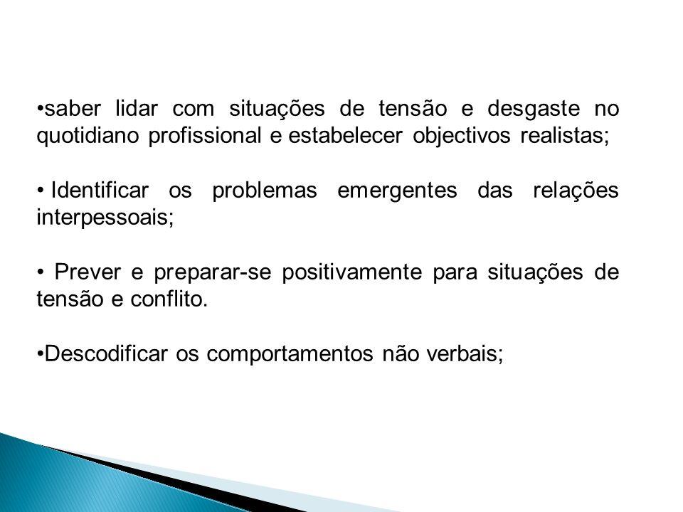 Identificar os problemas emergentes das relações interpessoais; Prever e preparar-se positivamente para situações de tensão e conflito. Descodificar o