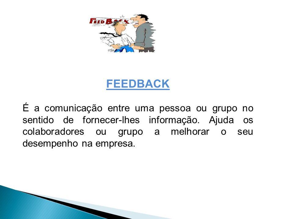 FEEDBACK É a comunicação entre uma pessoa ou grupo no sentido de fornecer-lhes informação. Ajuda os colaboradores ou grupo a melhorar o seu desempenho