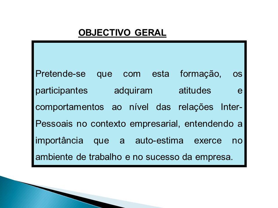Pretende-se que com esta formação, os participantes adquiram atitudes e comportamentos ao nível das relações Inter- Pessoais no contexto empresarial,