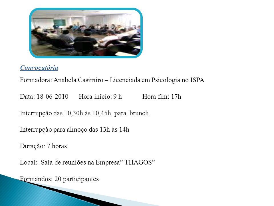 Convocatória Formadora: Anabela Casimiro – Licenciada em Psicologia no ISPA Data: 18-06-2010 Hora início: 9 h Hora fim: 17h Interrupção das 10,30h às