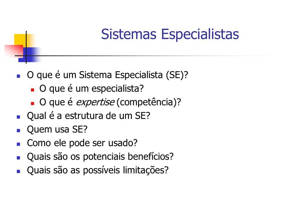 Sistemas Especialistas O que é um Sistema Especialista (SE)? O que é um especialista? O que é expertise (competência)? Qual é a estrutura de um SE? Qu