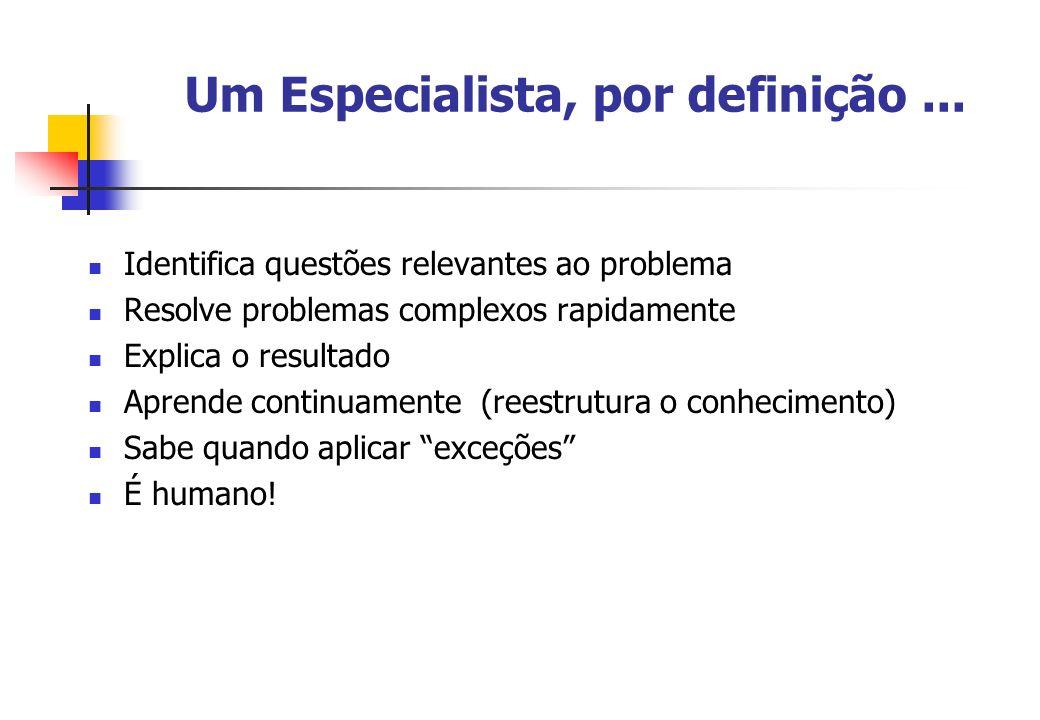 Um Especialista, por definição... Identifica questões relevantes ao problema Resolve problemas complexos rapidamente Explica o resultado Aprende conti