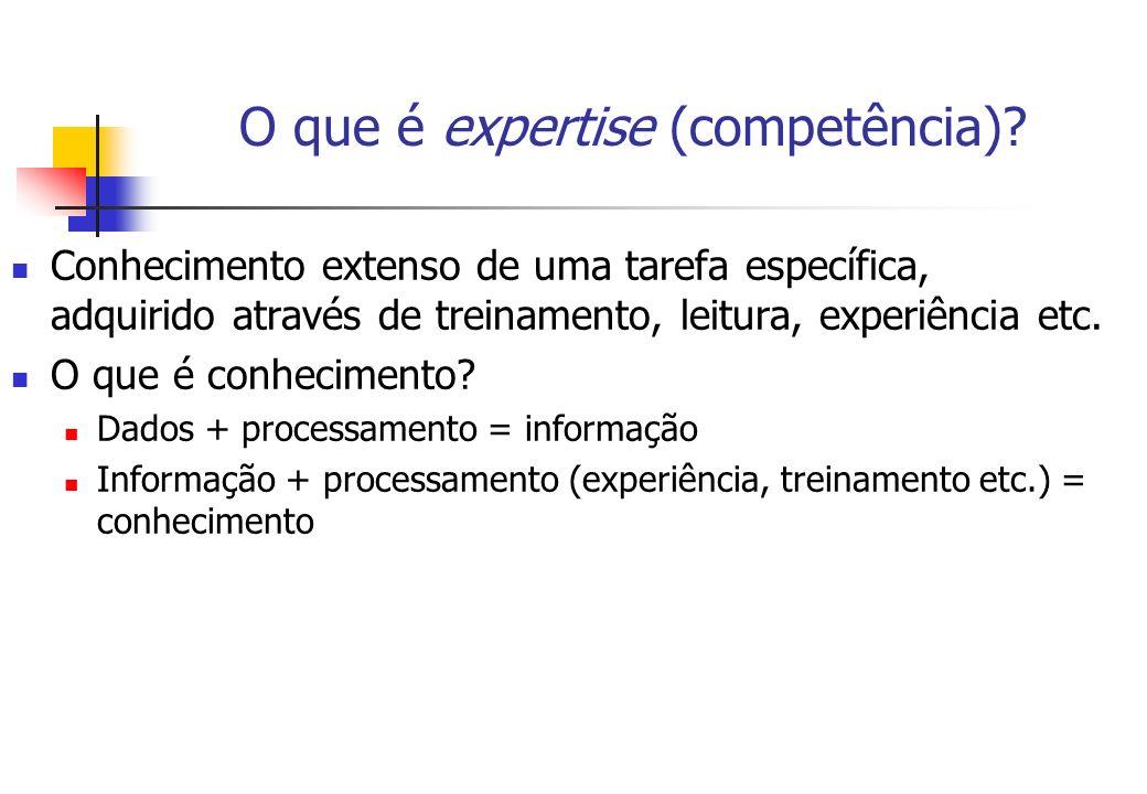 O que é expertise (competência)? Conhecimento extenso de uma tarefa específica, adquirido através de treinamento, leitura, experiência etc. O que é co