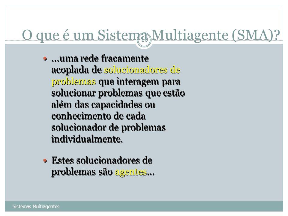 O que é um Sistema Multiagente (SMA)? Sistemas Multiagentes 10...uma rede fracamente acoplada de solucionadores de problemas que interagem para soluci