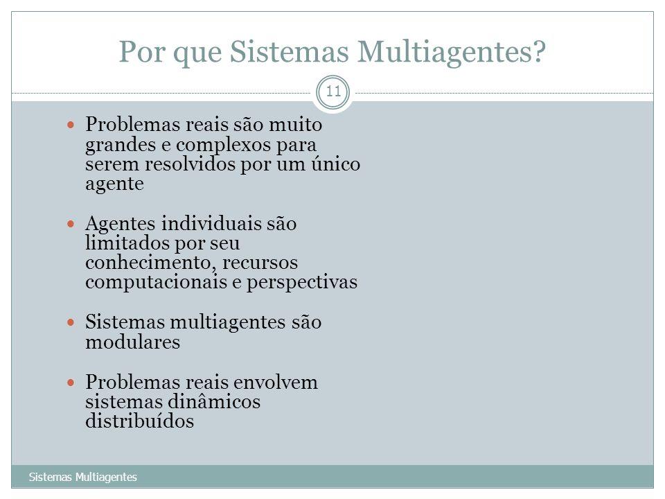 Por que Sistemas Multiagentes? Sistemas Multiagentes 11 Problemas reais são muito grandes e complexos para serem resolvidos por um único agente Agente