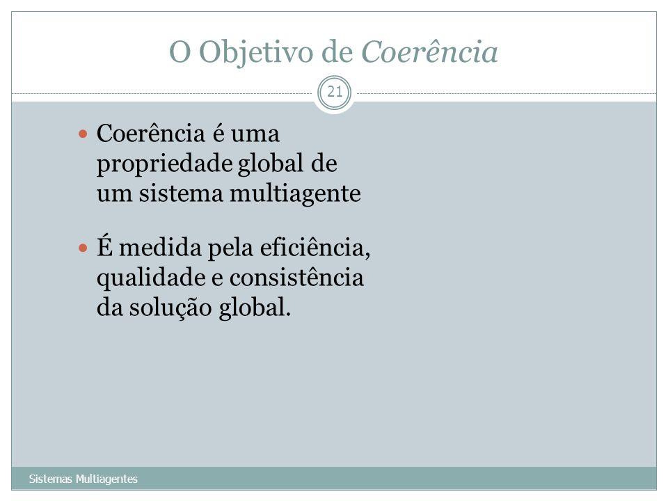 O Objetivo de Coerência Sistemas Multiagentes 21 Coerência é uma propriedade global de um sistema multiagente É medida pela eficiência, qualidade e co