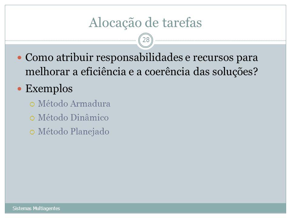 Alocação de tarefas Sistemas Multiagentes 28 Como atribuir responsabilidades e recursos para melhorar a eficiência e a coerência das soluções? Exemplo