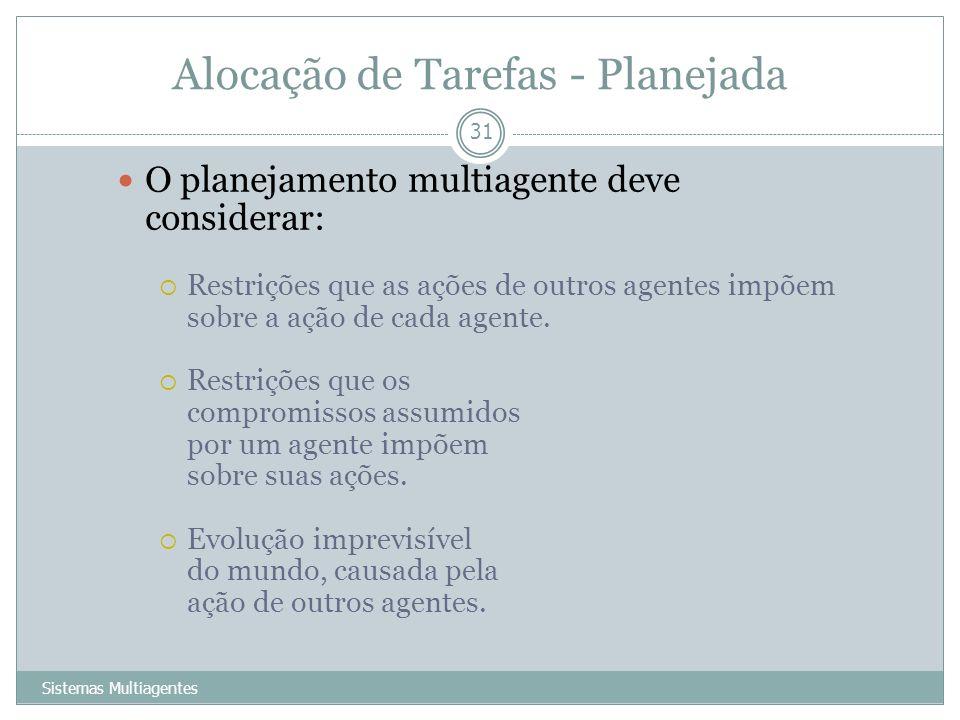 Alocação de Tarefas - Planejada Sistemas Multiagentes 31 O planejamento multiagente deve considerar: Restrições que as ações de outros agentes impõem