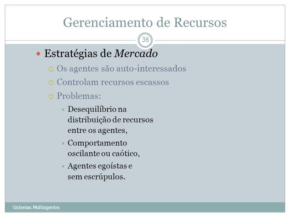 Gerenciamento de Recursos Sistemas Multiagentes 36 Estratégias de Mercado Os agentes são auto-interessados Controlam recursos escassos Problemas: Dese
