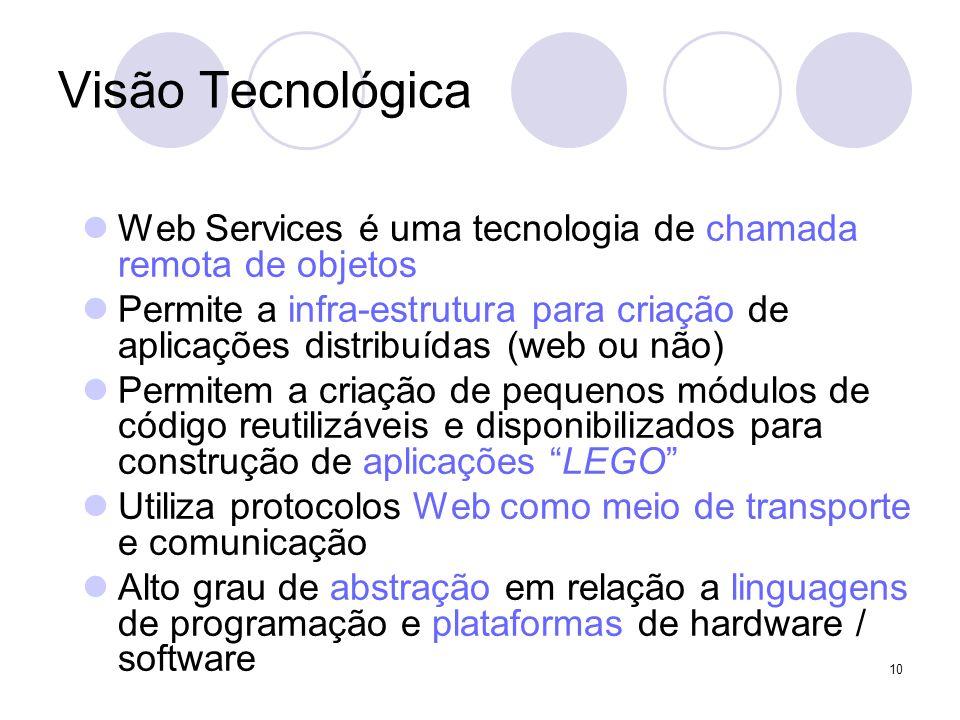 Visão Tecnológica Web Services é uma tecnologia de chamada remota de objetos Permite a infra-estrutura para criação de aplicações distribuídas (web ou