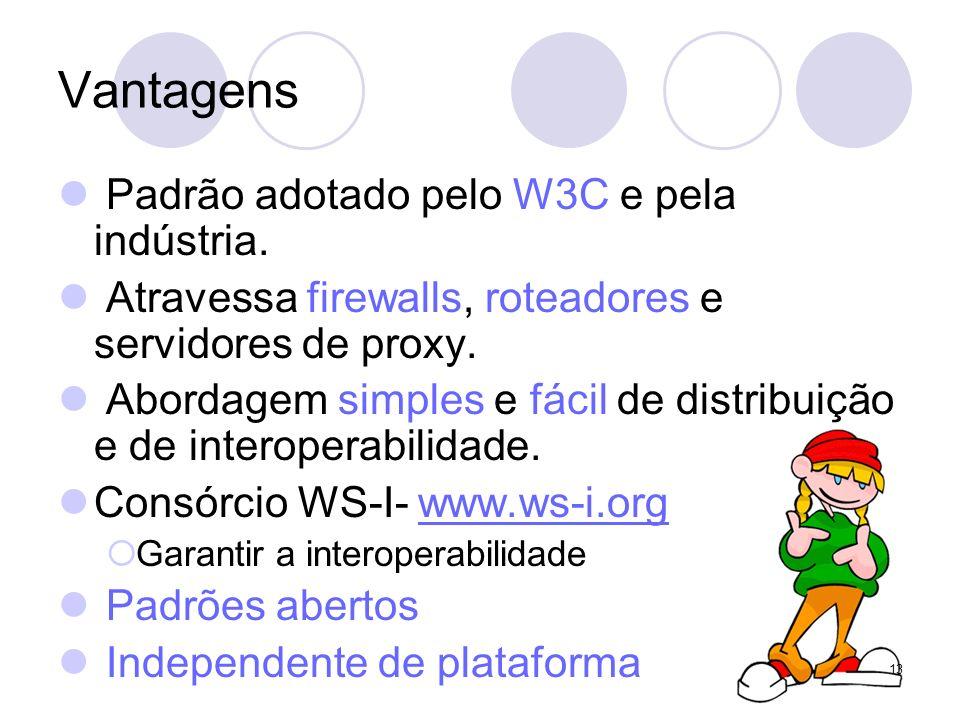 Vantagens Padrão adotado pelo W3C e pela indústria. Atravessa firewalls, roteadores e servidores de proxy. Abordagem simples e fácil de distribuição e