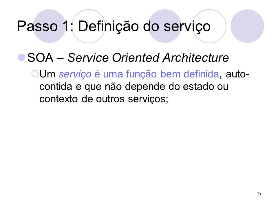 Passo 1: Definição do serviço SOA – Service Oriented Architecture Um serviço é uma função bem definida, auto- contida e que não depende do estado ou c
