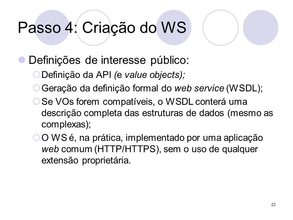 Passo 4: Criação do WS Definições de interesse público: Definição da API (e value objects); Geração da definição formal do web service (WSDL); Se VOs
