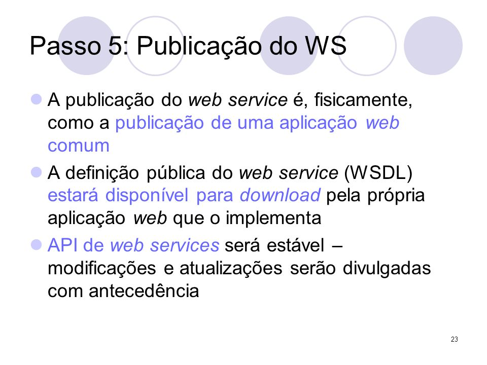 Passo 5: Publicação do WS A publicação do web service é, fisicamente, como a publicação de uma aplicação web comum A definição pública do web service