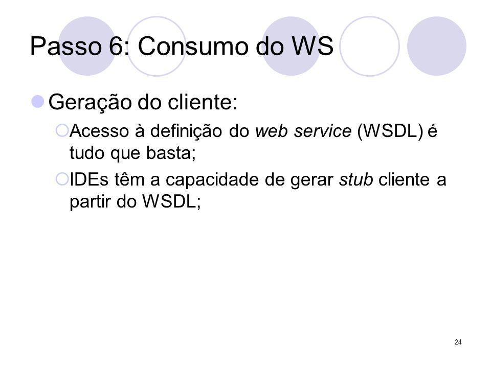 Passo 6: Consumo do WS Geração do cliente: Acesso à definição do web service (WSDL) é tudo que basta; IDEs têm a capacidade de gerar stub cliente a pa