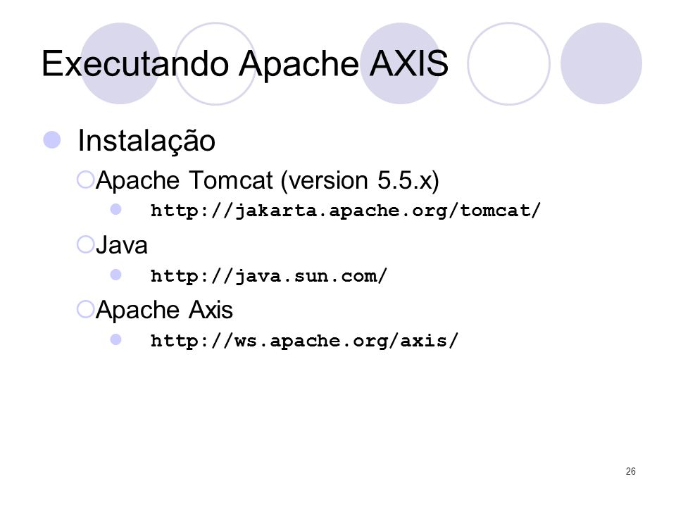 Executando Apache AXIS Instalação Apache Tomcat (version 5.5.x) http://jakarta.apache.org/tomcat/ Java http://java.sun.com/ Apache Axis http://ws.apac